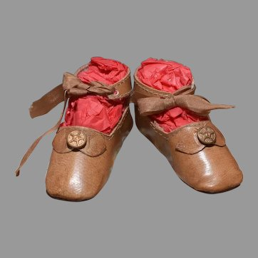 Tan Leather Doll shoes 2 3/4""