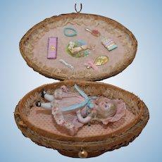 Antique All Bisque Doll in Presentation Wicker Basket