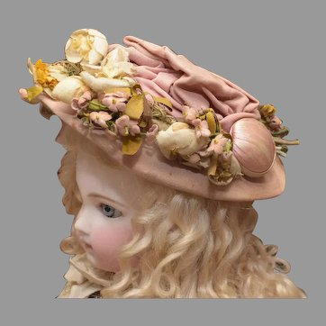 Precious Antique Doll Hat with Loads of Millinery and Ribbonwork Flowers