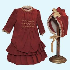 Fantastic Burgundy Wool Doll Dress with matching Bonnet