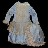 Beautiful Blue Silk Doll Dress with Bonnet