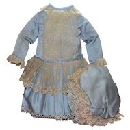 Beautiful Blue Silk Doll Dress with Bonnet