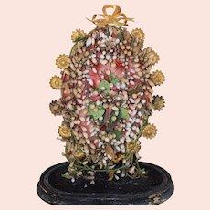 Victorian Wax Wedding Headdress Display