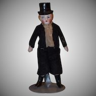 Miniature All Bisque Dollhouse Doll with Molded Top Hat
