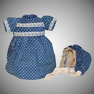 Petite and Sweet Blue Dotted Doll Dress and Bonnet