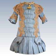 Pretty Blue Silk Doll Dress