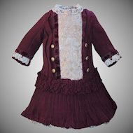 Beautiful Burgundy Doll Dress with Matching Cap