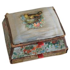 Victorian Lithograph Sewing Box Basket