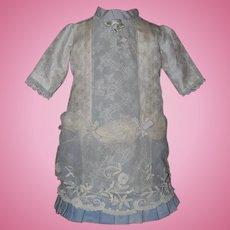 Pretty Slate Blue Lacy Doll Dress