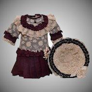 Stunning Burgundy Silk Doll Dress and Hat