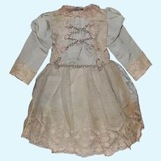 Beautiful Blue Silk Faille and Lace Doll Dress