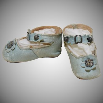 "2 1/2"" Antique Leather Doll Shoes Pale Blue Leather"