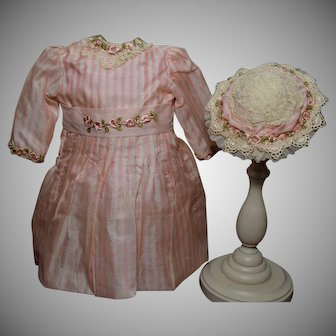 Exceptional Pink Stripped Doll Dress with Hat