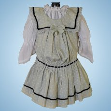 Sweet Two Piece Doll Dress for an Antique Doll