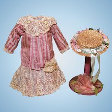 Gorgeous Pink Striped Silk Doll Dress