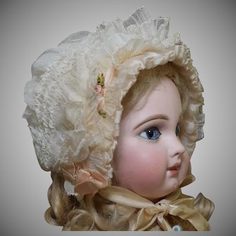 Precious Net Lace Antique Doll Bonnet
