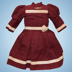 Pretty Maroon Cotton Doll Dress
