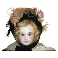 Early Velvet Bonnet for an Antique Doll