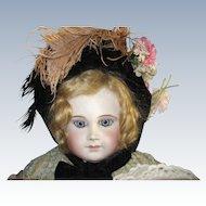 Early Velvet Bonnet for an Antique Doll