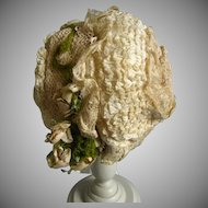 Stunning early French doll bonnet
