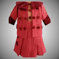 French made Red Wool Dress for an Antique Doll