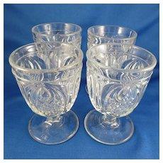 New England Pineapple Egg Cups (4), EAPG c.1850-1870