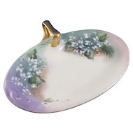 Limoges France Single Handled Oval Tray Signed 1913