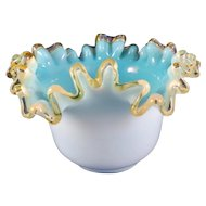 Vintage Small Opalescent Blue Ruffled Bowl, Bride's Basket