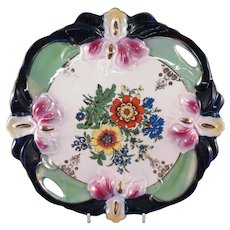 ELEANOR Germany High Relief Molded Majolica Iris, Handled Cake Plate/Tray