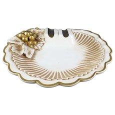Ashtray Mid-Century Italy Gold & White/Grapes