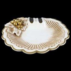 Ashtray Mid-Century Italy Gold & White/Grapes