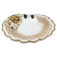 Fancy Vintage Ash Tray Gold on White with Grapes, Italy