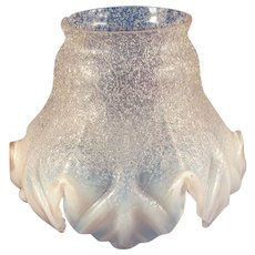 Vintage Gas Light Shade Lotus Leaf Opalescent Pink c. 1880