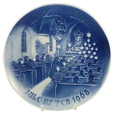 "1968 Bing and Grondahl Christmas Plate ""Christmas in Church"" B&G Denmark"