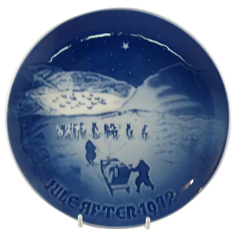 "1972 Bing and Grondahl Christmas Plate ""Christmas in Greenland"" B&G Denmark"