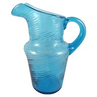 Early Aqua Blue Blown Swirl Pitcher c.1850 5.5 in.