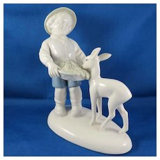 Vintage Figurine Porcelain Boy Feeding Deer by Gerold & Co. Tettau, Bavaria Germany