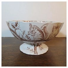 Rare Antique Large Brown Transfer Footed Bowl with Squirrels, Birds, Trees c.1880
