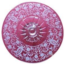 Beautiful Vintage Etched Floral Design Pedestal Cake Plate