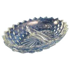 Fostoria American Divided Serving Bowl Clear Glass