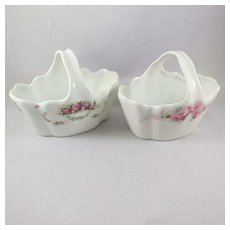 R.S. Germany Porcelain Nut baskets (2) with Roses