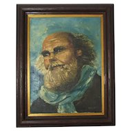 "Vintage Oil Painting of Old Bearded Man Signed ""ARENDS"""