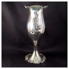 "Amazing Vintage Repousse Vase"" American Silver Plate Co."""
