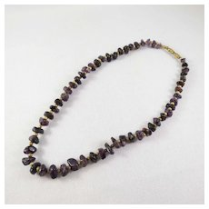 Graduated Natural Purple Amethyst Stone Bead Necklace