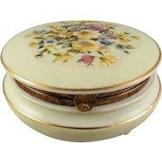 Vintage Round Porcelain Powder Dresser Vanity Box Colorful Floral Decorated