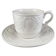 Myott Staffordshire Ironstone White Cup & Saucer Embossed Fruit