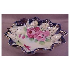 Vintage Clam Shell Bowl with Hand-Painted Roses
