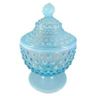 Vintage Fenton Hobnail Blue Opalescent Footed Candy Jar/Lid