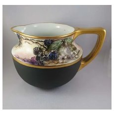 Vintage Porcelain Pitcher, Hand-Painted and Signed, Blackberries, Vienna, Austria c. 1900