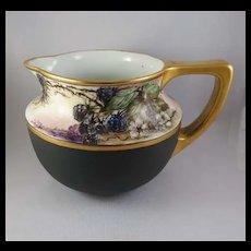 Vintage Porcelain Pitcher, Hand-Painted and Signed, Blackberries, Vienna, Austria c. 1900